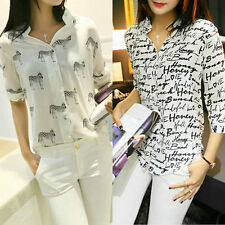 Women Chiffon Long Sleeve Print Blouse Loose Casual Shirt Short Sleeve Tops S-XL