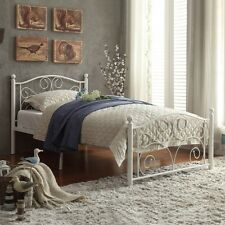 Twin Size Bed Metal Frame Full Iron Rails Traditional Headboard Antique White