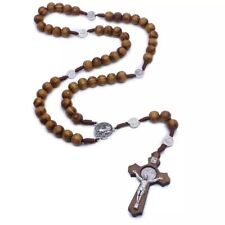 Catholic Christ Wooden Rosary Bead Cross Pendant Woven Rope Necklace