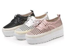 Womens PU Leather Sandals Lace Up Crepper Platform Med Heels Oxfords Shoes Size