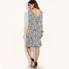 Women V Neck Print Wrap Three Quarter Sleeve V Back A Line Knee Length Dress