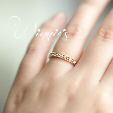 Sale 14K Gold Plated Eternity Thin CZ fancy Band Rings Sterling Silver Jewellery