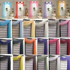 """Fresh Home Solid Sheer Voile Scarf Valance 216"""" Long Window Scarves 10 Colors"""