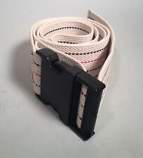 """56"""" Gait Transfer Belt WHITE Striped with PLASTIC Buckle 100% Cotton Assist"""