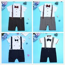 Kid Baby Boy Wedding Formal Suit Tuxedo Gentleman Romper Newborn Outfits Clothes