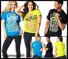 ZUMBA FITNESS World Tour Tee Shirt Top -The World is our Dance Floor! EliteZWear