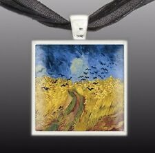 """Black Crows in Wheat Field Van Gogh Art Painting 1"""" Pendant Necklace ST, Autumn"""