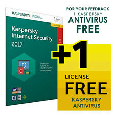 Kaspersky Internet Security 2017 -1 3 5 Pc -FREE Shipping or 1 FREE License*