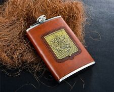 Portable Hip Flask Stainless Steel Brown Leather 9oz Emblem Print Whiskey Drink