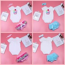3PCS Newborn Girls Infant Baby Romper Outfit Jumpsuit Bodysuit+Pants Set Clothes