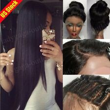 Virgin Human Hair Lace Front Wig Silk Base Full Lace Wig with Baby Hair Black #b