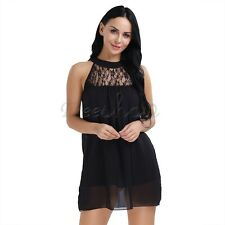 Women Summer Short Mini Sundress Ladies Beach Party Evening Cocktail Lace Dress