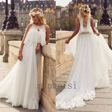 A-line Beach Summer Wedding Dress Lace Sleeveless Crystal Chiffon Bridal Gown