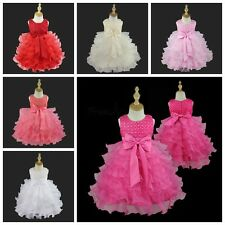 Flower Girls Baby Tutu Dress Baptism Party Wedding Pageant Bithday Formal Gown