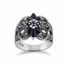 Gemondo Sterling Silver 0.90ct Sapphire & 0.25ct Marcasite Floral Cocktail Ring