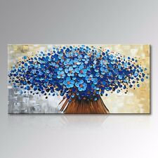 Hand Painted Canvas Wall Art Oil Painging Flower Blue Picture Modern Home Decor