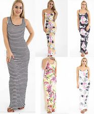 Womens Ladies Cami Strappy Tropical Floral Print Full Length Maxi Dress UK 8-18