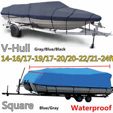 17' 19' 22' 24' V-Hull Fish - Ski Trailerable Boat Cover Blue Color All Weather
