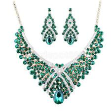 Prom Crystal Jewelry Set Gold Metal Statement Bib Necklace and Earrings
