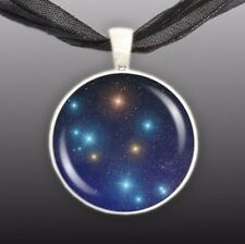 "Southern Cross Constellation Illustration 1"" Space Pendant Necklace Silver Tone"