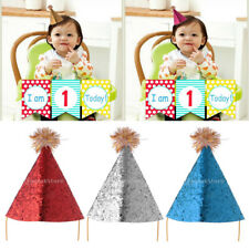 Baby Girl Boy Infant Toddler Sequins Kids Birthday Party Cone Hat Hair Accessory
