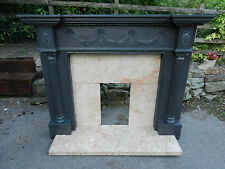 OLD/VINTAGE CHARCOAL GREY PAINTED LARGE FIREPLACE - MARBLE - GOOD CONDITION