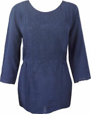New Ex Marks and Spencer M&S Per Una Navy embroidered Tunic Top