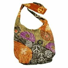 Distressed Hobo Bag With Peace Signs - Cool Hippie Gypsy Boho Festival Backpack