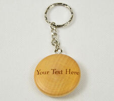 Personalised Wooden Keyring Round engraved with text or name, message, house car
