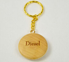 Personalised Wooden Keyring Round Diesel Petrol never forget incorrect fuel car