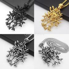 Punk Double Skull Heads Multi Snakes Pendant Skeleton Necklace Chain Jewelry