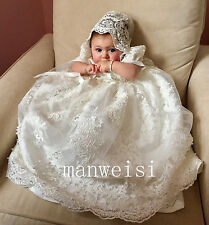 Ivory Toddler New Baby Christening Dress Antique Lace Infant Baptism Gown+Bonnet