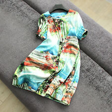 2017 summer loose color printing single breasted short sleeved Chiffon Dress