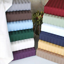 Full Size 4 pc Bedding Sheet Set 1000 TC 100%Egyptian Cotton All Striped Colors