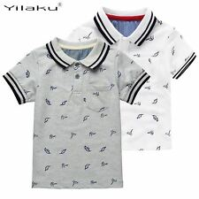 New Summer Dinosaur Boys T-shirts Cotton Kids Tops Sports Tee Turn-down Collar B