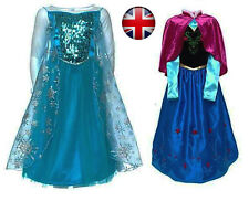 Frozen Elsa/Anna Girls Fancy Dress Costume Deluxe Snow Queen Elsa Anna Costume