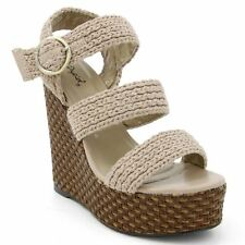 Qupid Katrina-22 Strappy Sling back Multi Straps Braided Wedge Sandals TAUPE