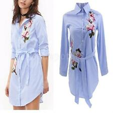 Embroidery Womend Print Long Sleeve Striped Blouse Loose Casual Shirt Mini Dress