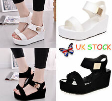 UK Women Ladies Open Toe Flatforms Wedges Sandal Platforms Ankle Strap Shoes 2-5