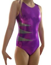 PURPLE/PINK & SILVER LEOTARD - GIRLS SIZES 2 to 16 - GYMNASTICS DANCE GYM