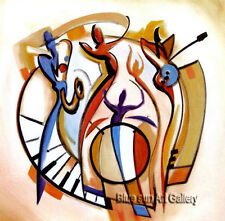 Hand-painted Modern Abstract Oil Painting Wall Art on Canvas Music dance Decor