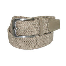 New CTM Men's Elastic Braided Stretch Belt with Silver Buckle