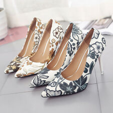 Womens Pointed Toe Floral High Heel Pumps Shoes OL Party Flower Stilettos Size
