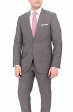Mens Extra Slim Fit Gray Textured Two Button Super 140s Wool Suit