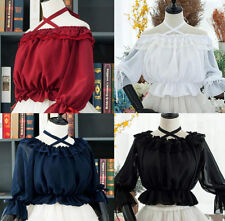 Gothic Lolita Women Girls Lace Ties Chiffon Blouse Flouncing Top 2 Way Wear New