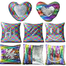 16'' Reversible Mermaid Pillow Sequin Cover Glitter Sofa Cushion Case Home Decor