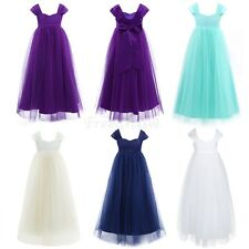 Girls Flower Straps Tulle Dress Kids Pageant Wedding Bridesmaid Party Gown Bows