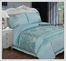 280TC Jacquard Weave Turquoise Silver * KING QUEEN DOUBLE QUILT DOONA COVER SET