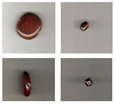 One (1) Brown Ceramic Bead: Textured Coin, Oval, 2-3mm Hole / Jewelry Crafts