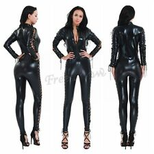 Womens Wet Look Zipper Lace-up Patent Leather Catsuit Bodysuit Jumpsuit Costume